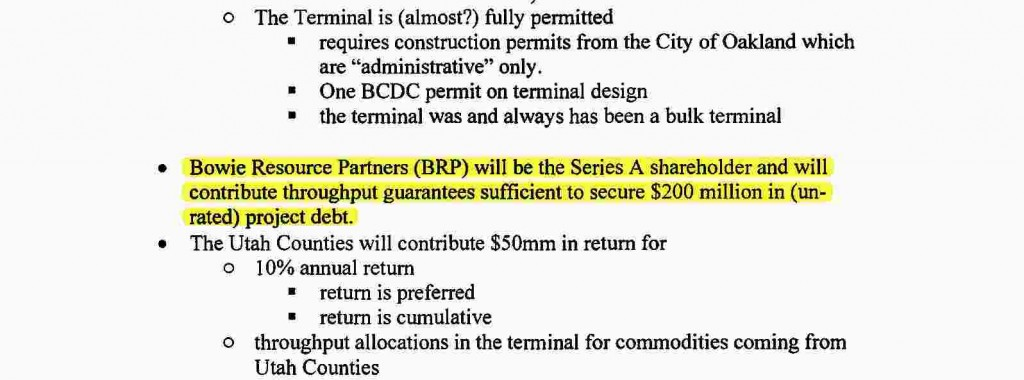 "Excerpt from term sheet: ""The terminal Operator, TLS will be created as a part of the business arrangement between the Counties, Bowie, and any other users that can be contracted ahead of time, and will own a 66-year operating concession on the terminal from the City of Oakland."""