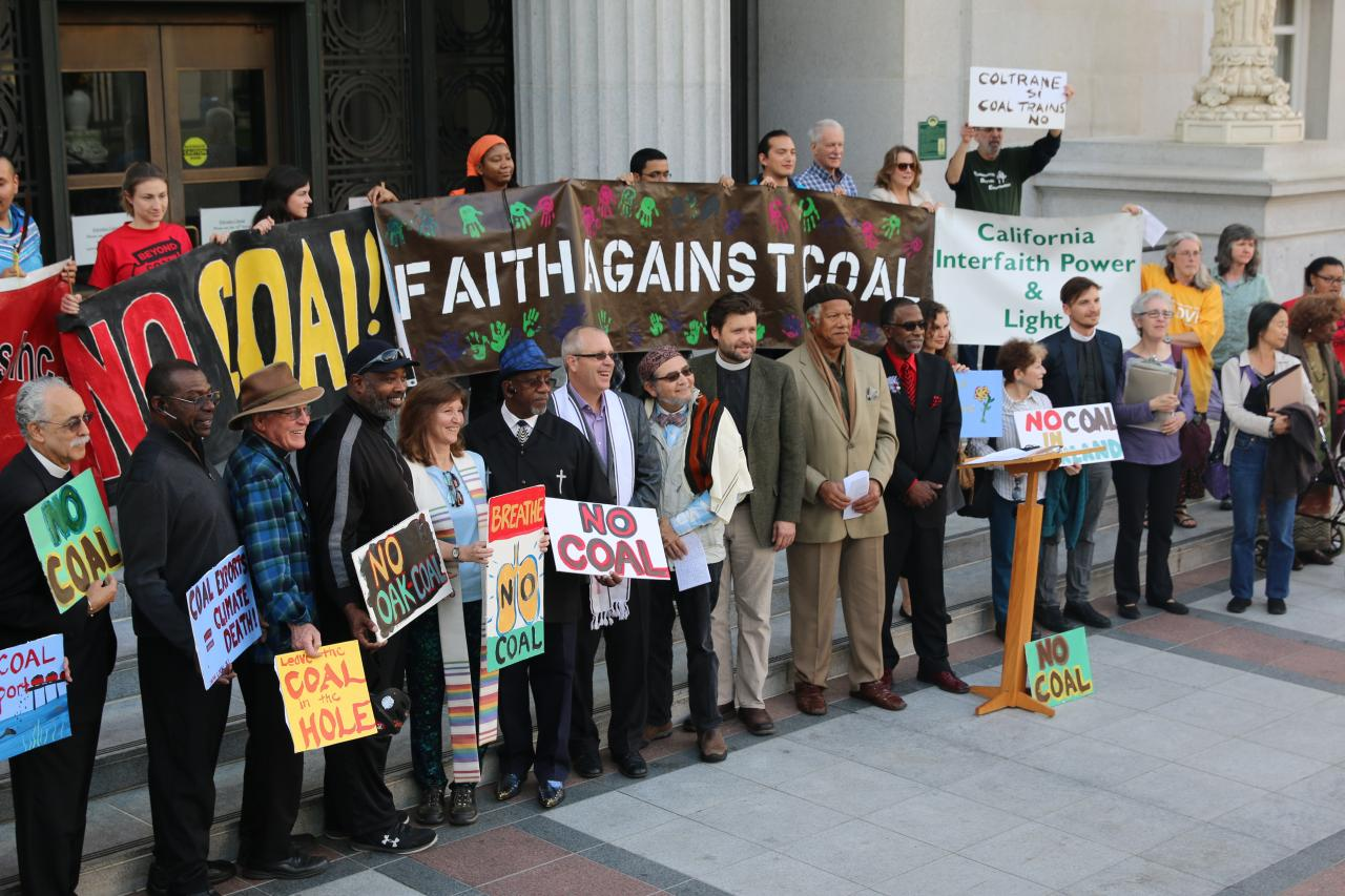 Photo of faith leaders against coal in front of Oakland City Hall