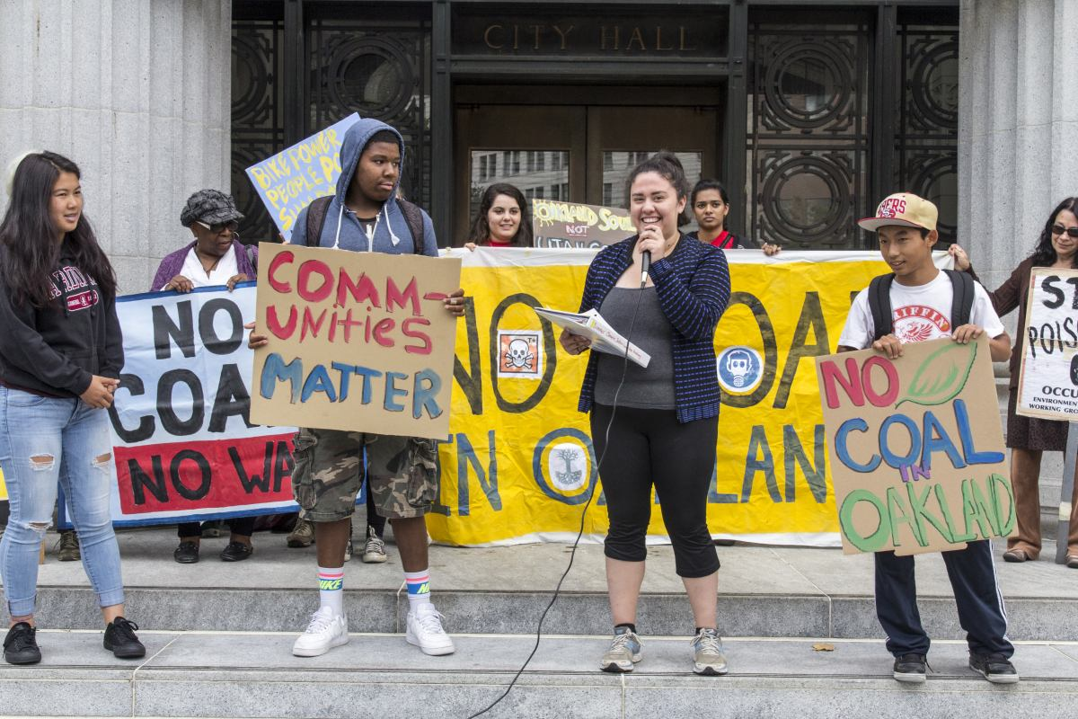Young people on steps of City Hall, No Coal rally July 21, 2015