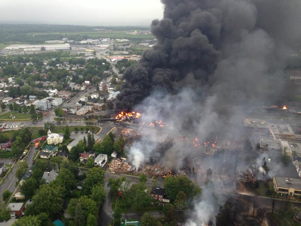 The Lac-Mégantic oil train derailment disaster. Photo by Sûreté du Québec, via Wikimedia Commons.