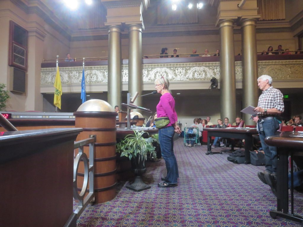 Coal opponents representing Heal Utah, who traveled to support Oakland's ban on coal, speak during the public comment portion of the hearing, 2016-06-27. Photo credit: Steve Masover.