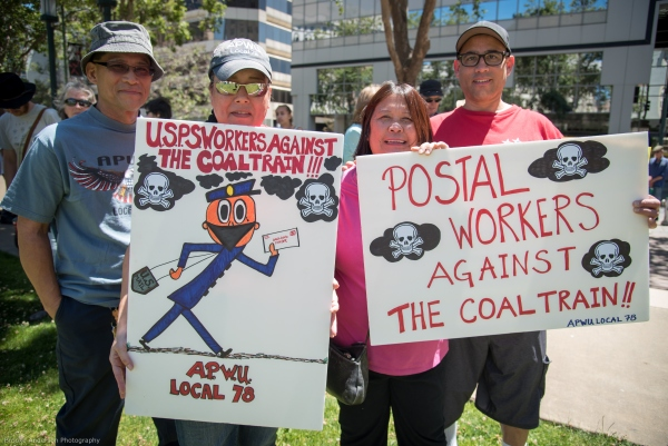 Postal workers against the coal train Photo: Brooke Anderson