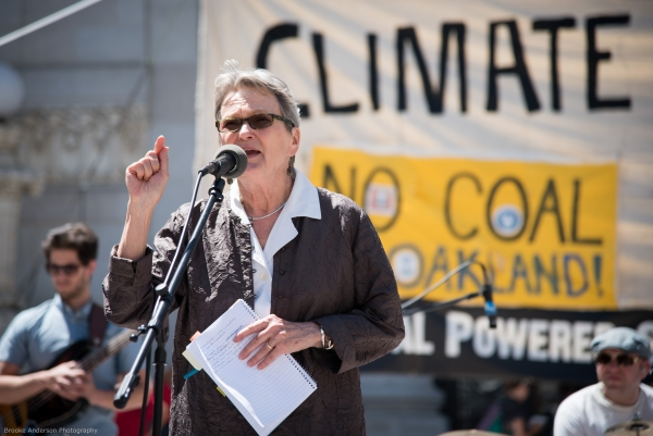 Senator Loni Hancock at the June 27 rally against coal Photo: Brooke Anderson