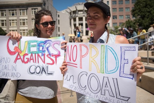 """Queers against coal""and ""No Pride in Coal"" Photo: Brooke Anderson"