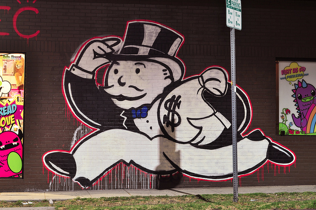 "Mr Money Bags mural by ""Alec"" in Los Angeles, photo by Aisle Twenty Two via Flickr, https://www.flickr.com/photos/aisle22/9181719818"