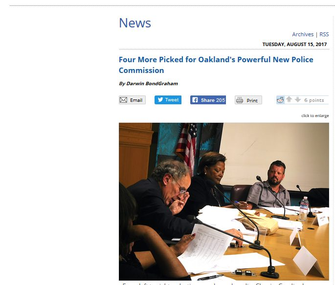 East Bay Express reports Police Commission picks