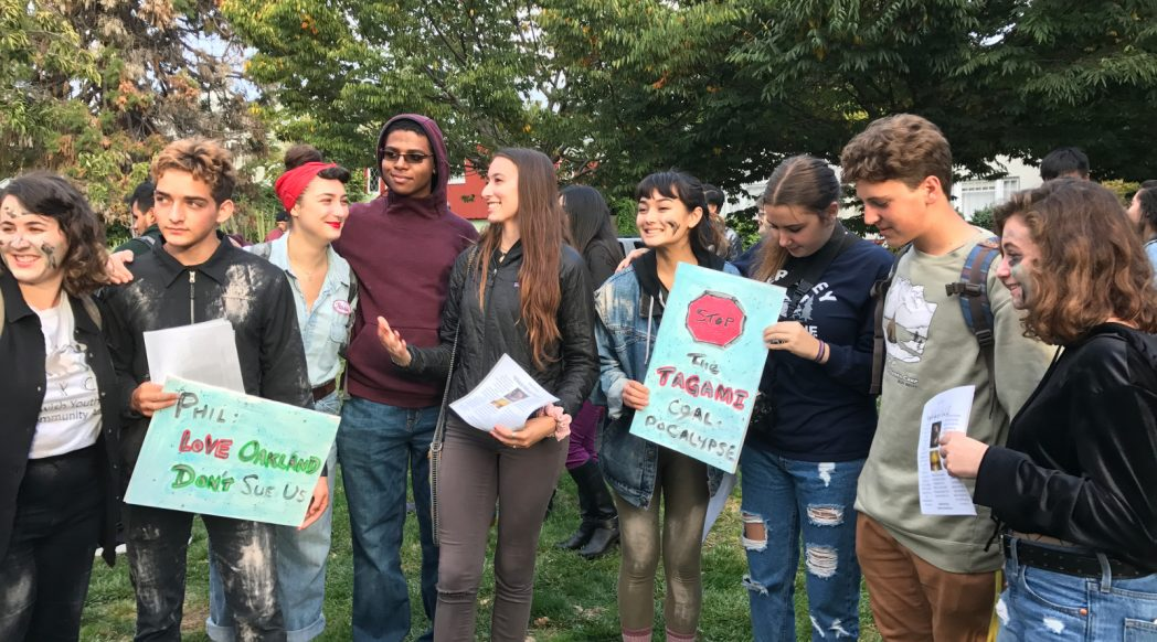 Oakland Youth turn out for the Zombie March on Coal to Phil Tagami's home, 2017-10-30. Photo credit: Kim White.