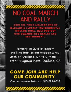 No Coal March and Rally - 31 Jan 2018 - Flyer
