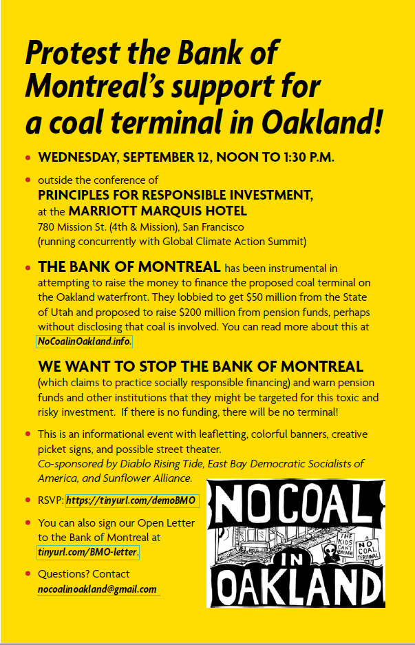 Flyer for 12 Sept 2018 protest against Bank of Montreal financing of Oakland Coal Terminal