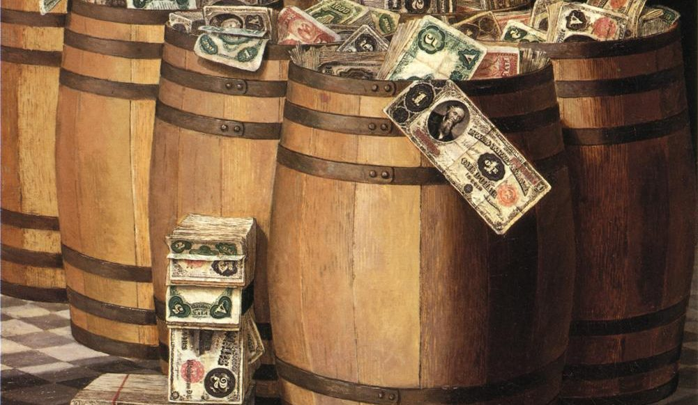 "Victor Dubreuil, ""Barrels Of Money"" (c. 1897, oil on canvas). Public domain via Wikimedia.com {{PD-1923}}"