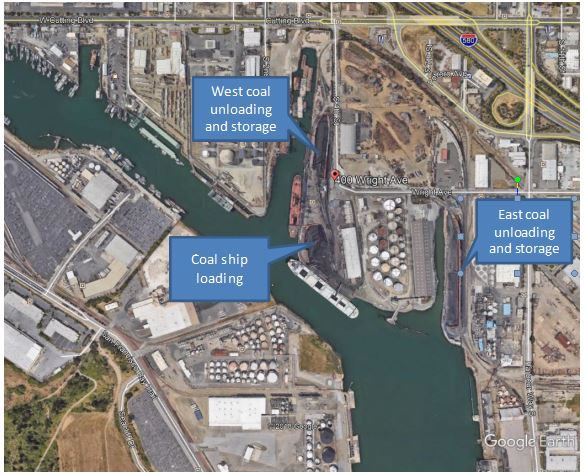 Ariel view of Richmand Levin coal terminal, from Richmond Mayor Tom Butts e-mail forum, http://www.tombutt.com/forum/2018/18-5-10a.html