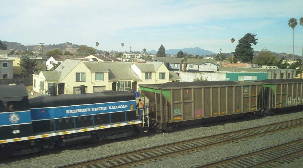 Coal Train photographed from Carlson Blvd in Richmond, California. Photo credit: Sierra Club.