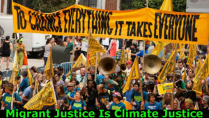 Migrant Justice Is Climate Justice [Event image credit: (remixed) South Bend Voice, CC BY-SA-2.0, https://creativecommons.org/licenses/by-sa/2.0/deed.en; courtesy of Wikimedia https://commons.wikimedia.org/wiki/File:People%27s_Climate_March_2014.jpg]