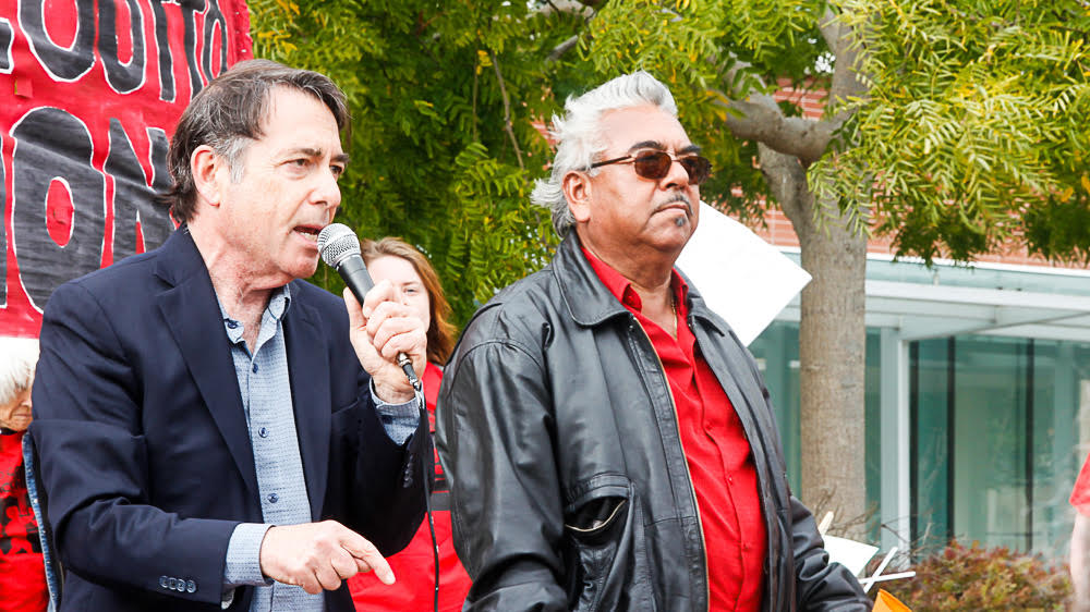 John Gioia (president of the Contra Costa Board of Supervisors, and member of the Board of the Bay Area Air Quality Management District) with rally MC Andres Soto (Communities for a Better Environment). Photo: Steve Nadel.