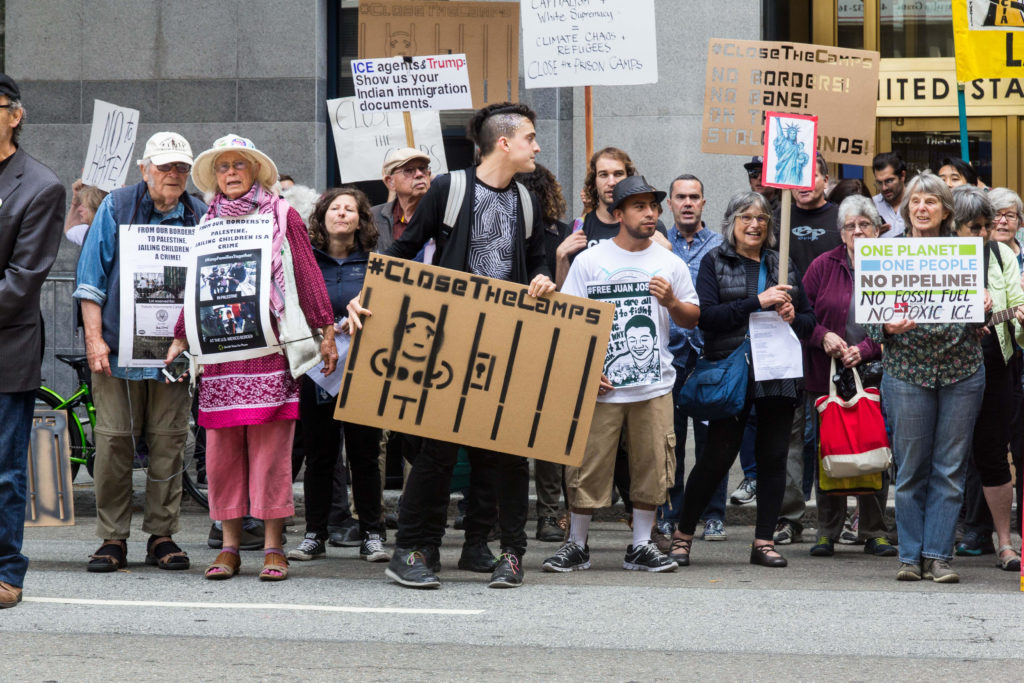 Climate Justice Activists joined to demand #CloseTheCamps in front of ICE offices in San Francisco, at 630 Sansome St. Photo by Steve Nadel.