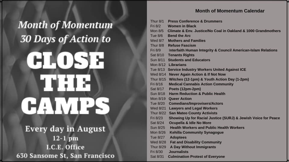 Month Of Momentum Calendar - ICE-SF - August 2019