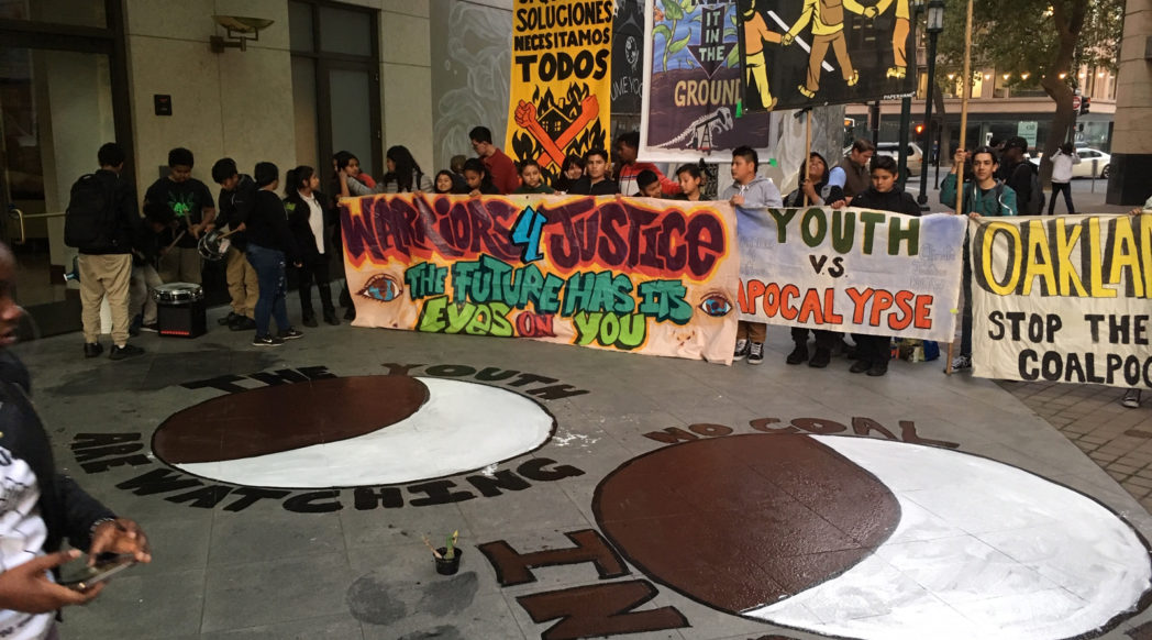 Youth vs Apocalypse organized an emergency action at Oscar Grant Plaza on 7 Nov 2019 in response to revelations that coal company executives are trying to lobby and buy off members of the African American community in their attempt to poison Oakland with a toxic coal terminal. Photo credit: Francesca Cunningham.