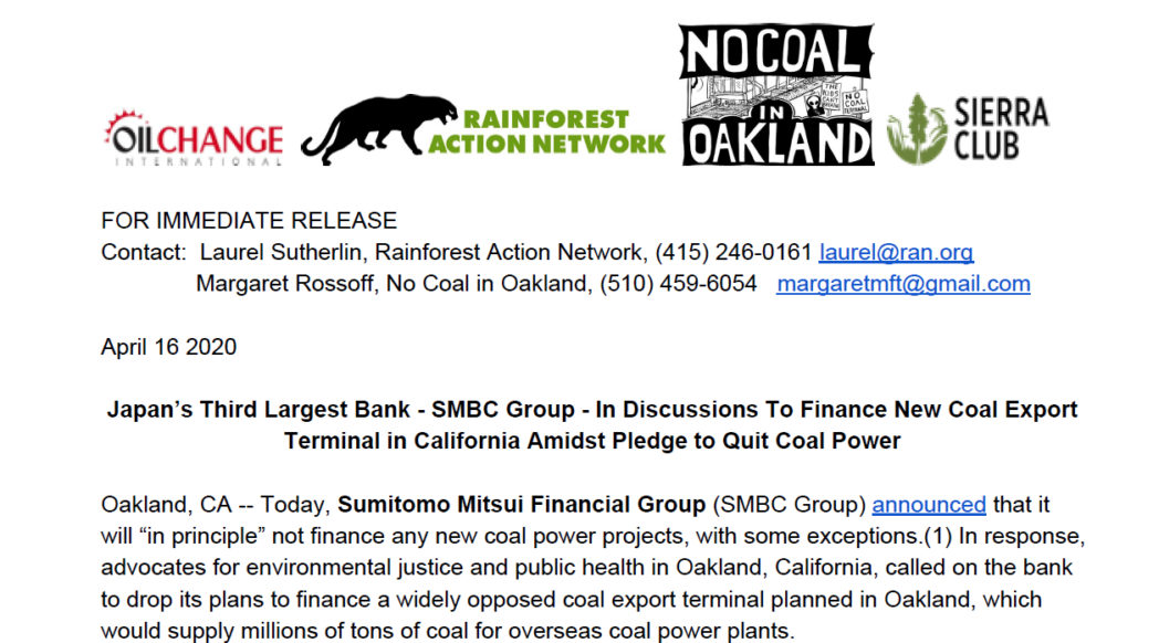 Image of press release dated 16 April 2020, challenging SMBC to drop Oakland coal terminal financing