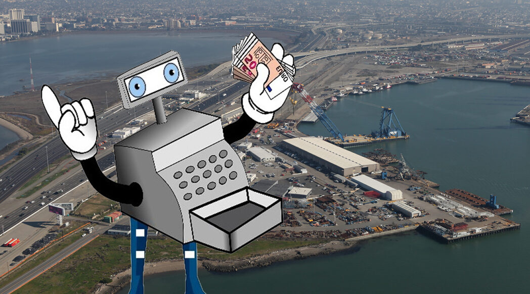 Gleeful cartoon cash register figure superimposed on image of the West Gateway site in Oakland, CA