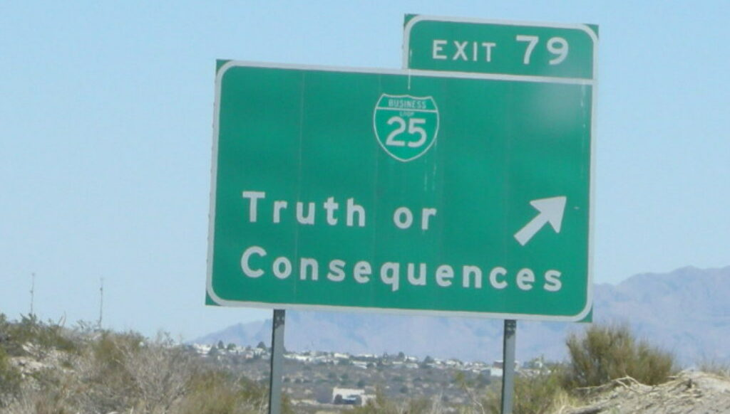 AA roadsign showing the way to Truth or Consequences, NM