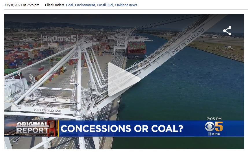"""KPIX story of 2021-07-08 with chyron """"Concessions or Coal?"""""""