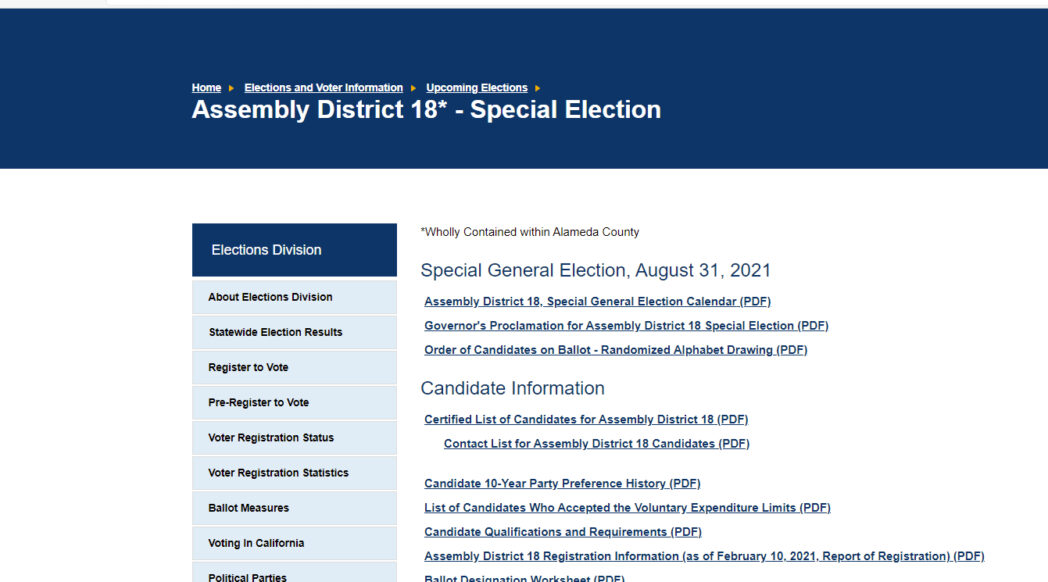 Screenshot of California Secretary of State website for AD 18 Special Election, August 2021: https://www.sos.ca.gov/elections/upcoming-elections/2021-ad18