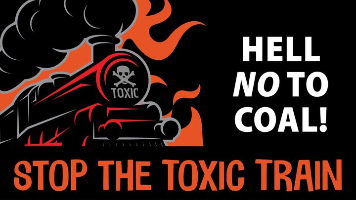 """Graphic created by the office of California State Senator Mike McGuire. Text reads: """"Hell NO to Coal! Stop the Toxic Train"""""""